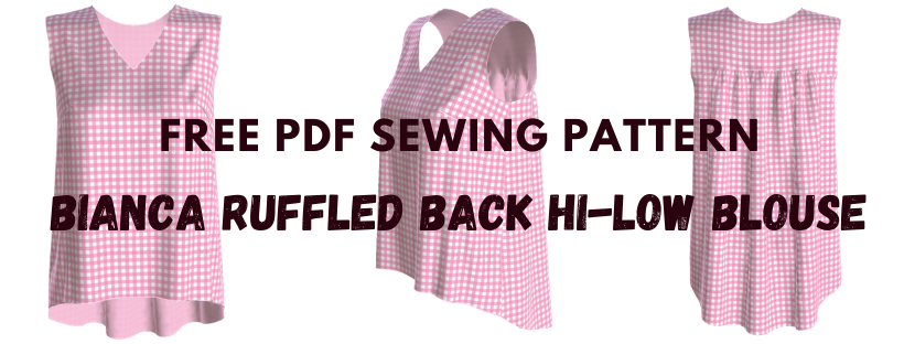 Free PDF sewing pattern: Bianca ruffled back hi-lo blouse