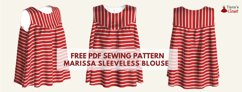 Free PDF sewing pattern: Marissa sleeveless blouse