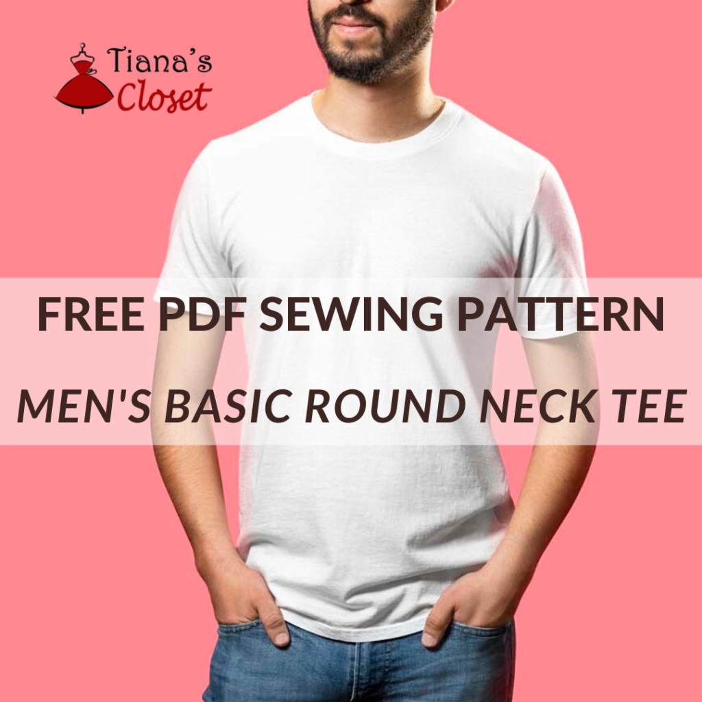 Free sewing pattern: Men's basic round neck T shirt
