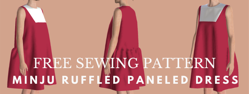 Free sewing pattern: Minju ruffled paneled dress