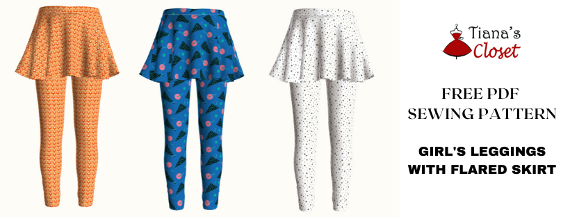 Free sewing pattern: Girl's leggings with skirt