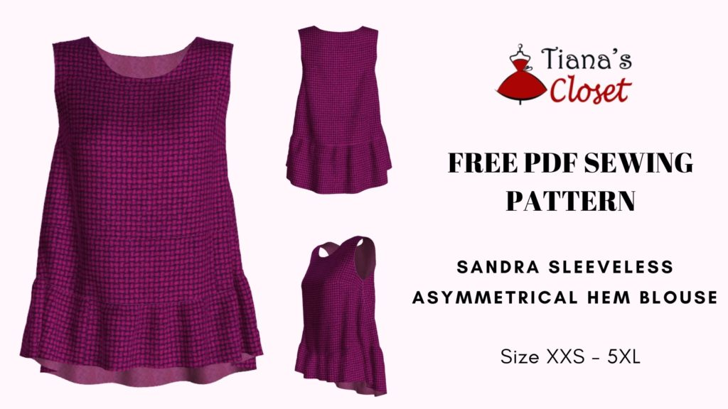 Sandra asymmetrical hem blouse - free PDF sewing pattern
