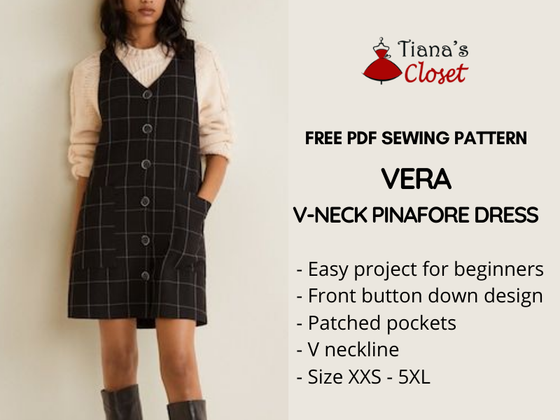 Vera pinafore dress - free sewing pattern