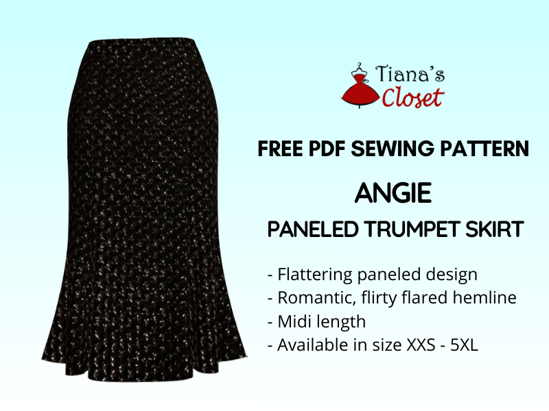 Angie paneled trumpet skirt pdf sewing pattern