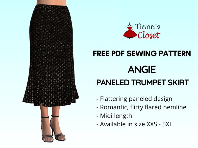 Angie paneled trumpet skirt pdf sewing pattern