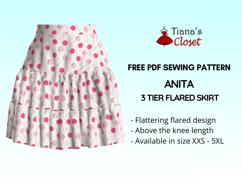 Anita 3 tier flared skirt