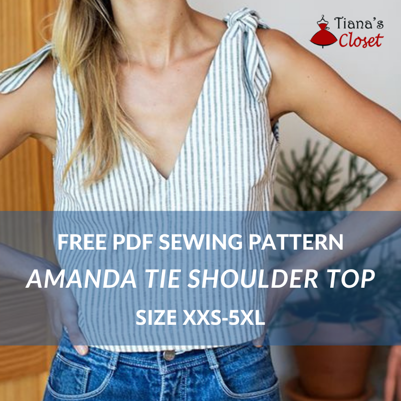 Amanda tie shoulder top - free sewing pattern