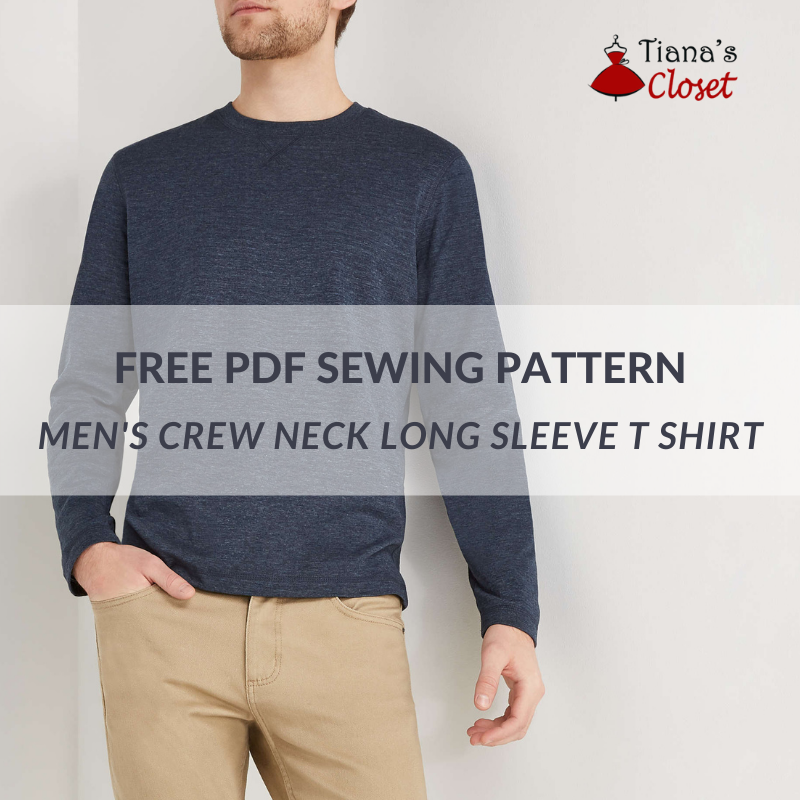 Men's crew neck long sleeve T shirt - free PDF sewing pattern
