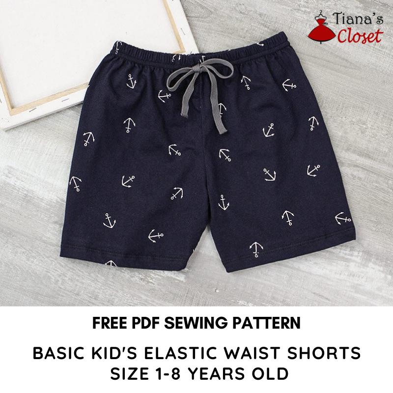 BASIC KID'S ELASTIC WAIST SHORTS SEWING PATTERN