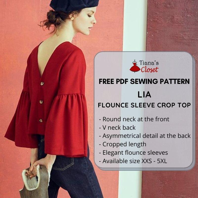 Lia flounce sleeve crop top pdf sewing pattern