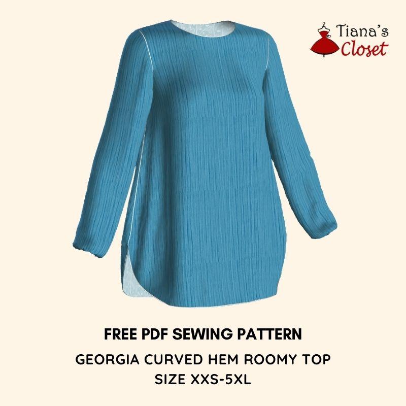georgia curved hem roomy top free pdf sewing pattern