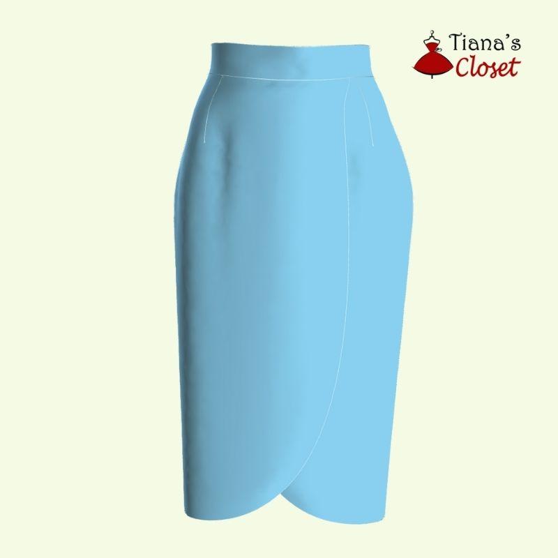 Olivia high waist midi faux wrap skirt free sewing pattern