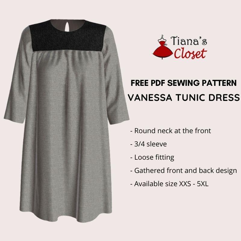 Vanessa tunic dress free pdf sewing pattern