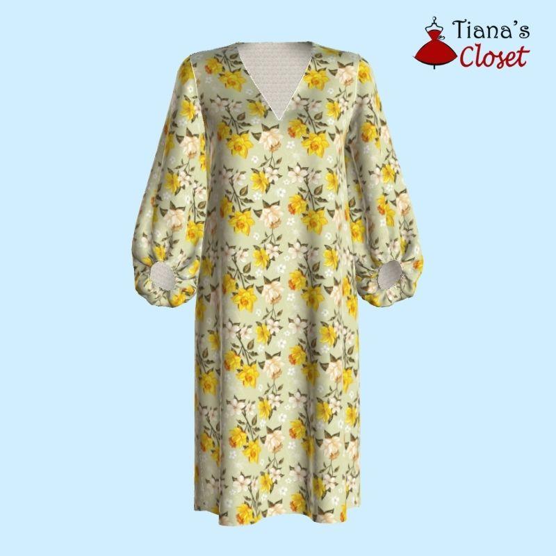 Johanna puffed sleeve tunic dress free pdf sewing pattern