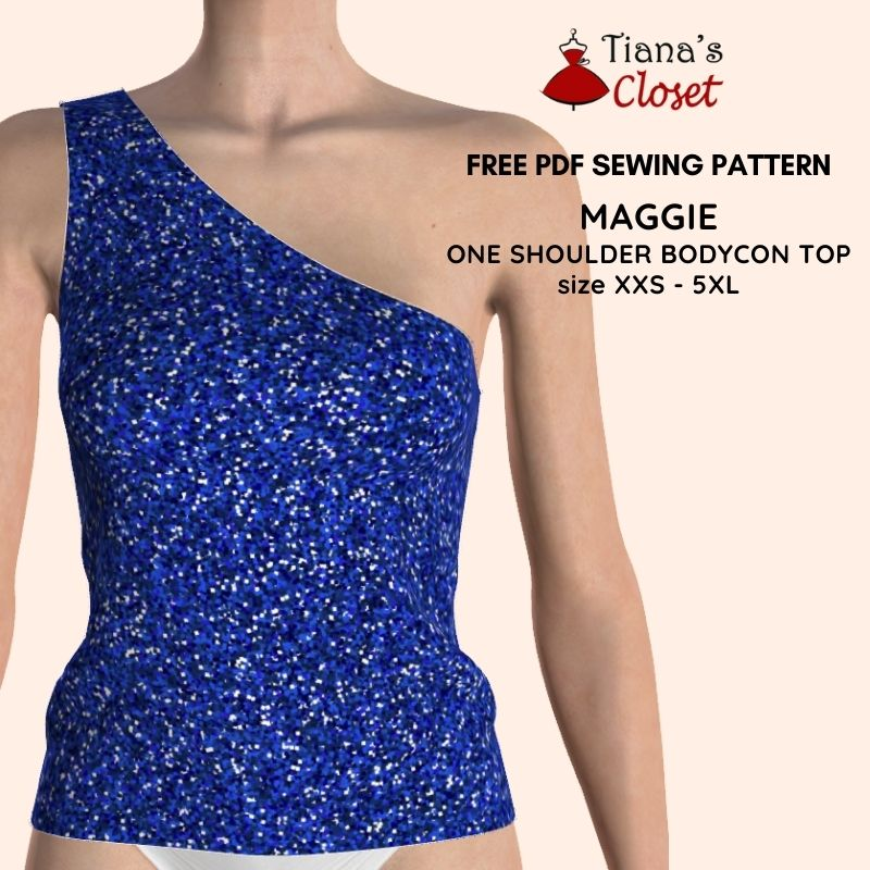 Maggie one shoulder bodycon top free pdf sewing pattern