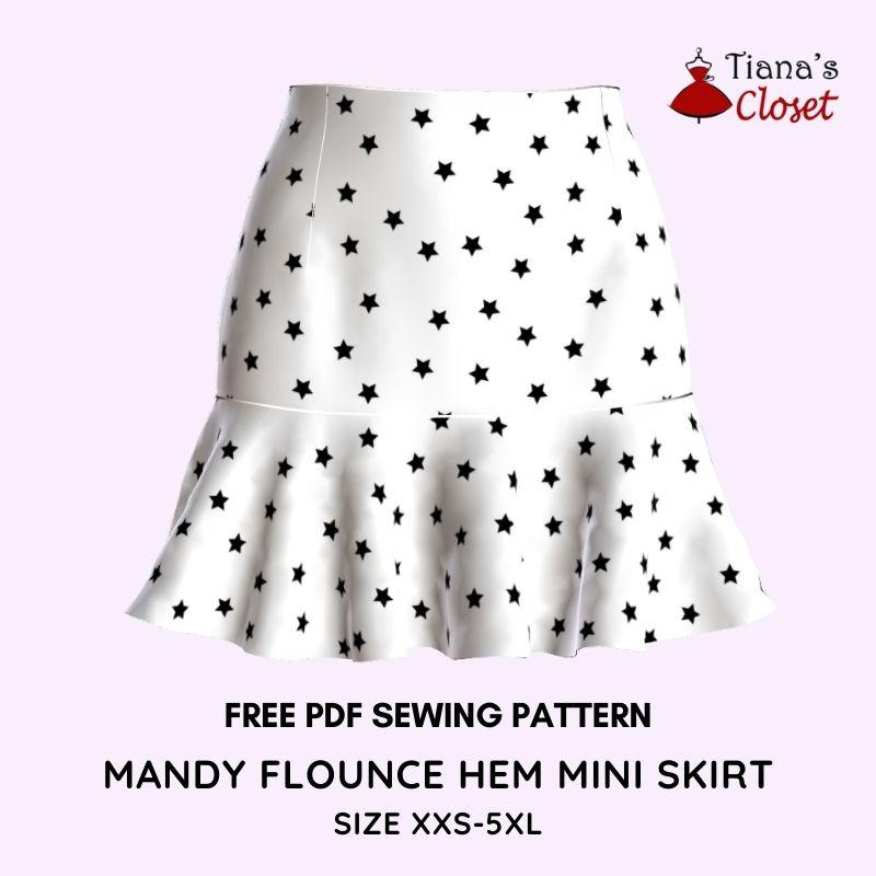 Mandy flounce hem mini skirt free pdf sewing pattern