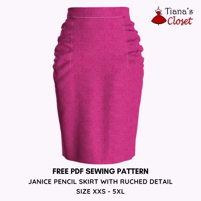 JANICE PENCIL SKIRT WITH RUCHED SIDE DETAIL - free pdf sewing pattern