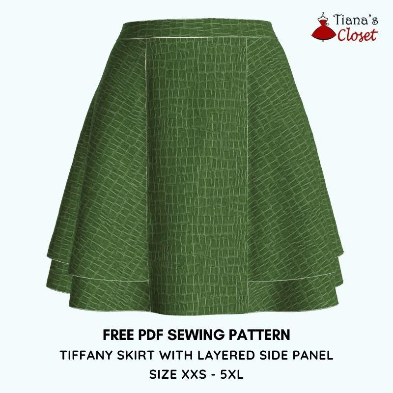 TIFFANY SKIRT WITH LAYERED SIDE PANEL (SIZE XXS – 5XL) free pdf sewing pattern